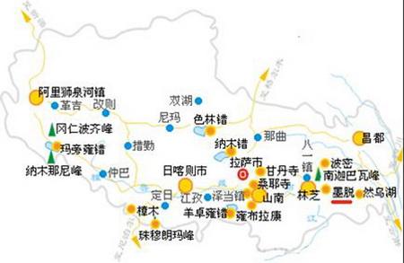 2014年西藏公路地图